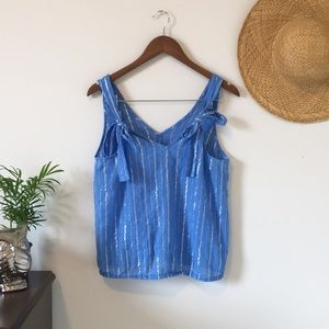2/$15 Aerie Blue Striped Tank With Tie Shoulders
